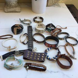 Jewelry - 20 pc bracelet lot bundle set leather metal studs